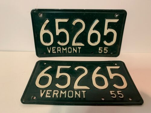 Matched Pair 1955 Vermont License Plates, Tags
