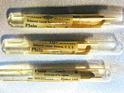 3 Vintage Davis & Geck Kalmerid Catgut Medical Sutures in Glass Tubes!!