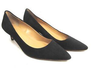 J Crew Womens Size 8.5 Classic Pumps Black Suede Kitten Heel Dress Shoes