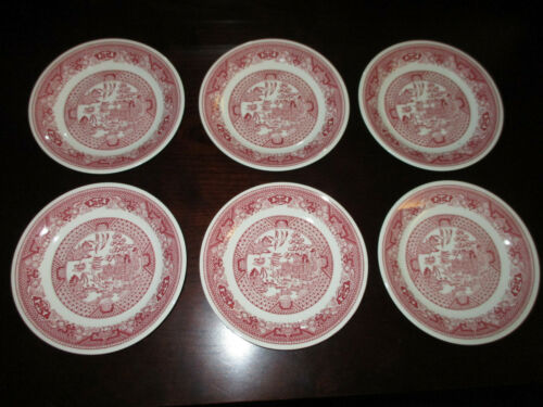 """6 Vintage Red Pink Willow Ware Royal China Underglaze 6"""" Saucers Small Plates"""