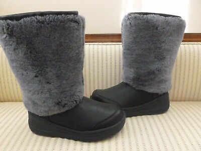 UGG AUSTRALIA MARIEN BLACK BOOTS SHEEPSKIN FUR WINTER SNOW AUTHENTIC $300 SZ US6