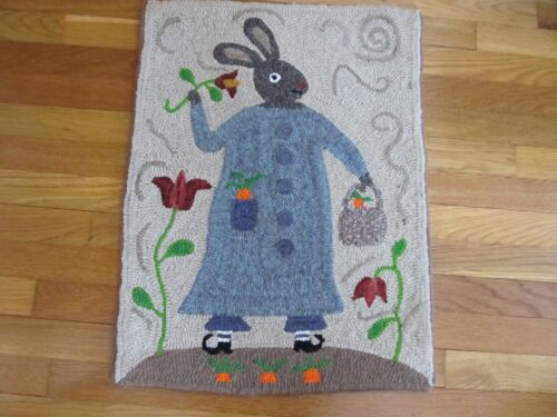SPRING (EASTER) HAND HOOKED WOOL RUG 19 X 26