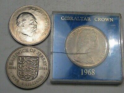 3 British Crowns: 1965 Churchill, 1966 Jersey, 1968 Gibraltar.  #53 image