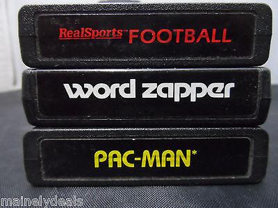 LOT OF 3 ATARI 2600 GAMES PAC-MAN WORD ZAPPER REALSPORTS FOOTBALL USED
