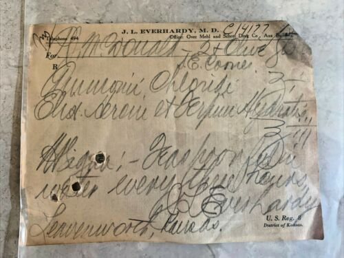 Antique 1900s Heroin Prescription Paper Ephemera Leavenworth Kansas Pharmacy
