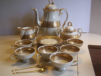 Beautiful Vintage Bavaria 19 Pc. Demitasse Set White and Gold ~ Mint Condition