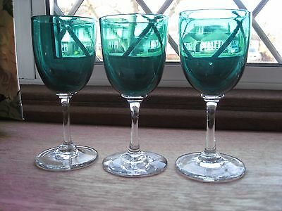 Vintage Blue/Green Liqueur Glasses x 3