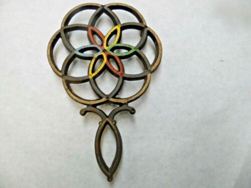 Vintage Wilton  Cast Iron Trivet w/ Painted Highlights  Unusual Design