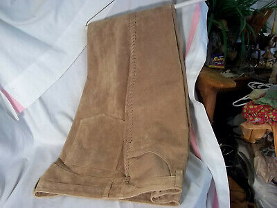 Chicos Design Women's Suede Leather Pants CAMEL Laced Detail Legs Size 2