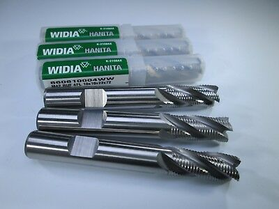 Lot 3 Pcs Widia Hanita Cobalt 38 10mm Roughing Endmills Milling Roughers