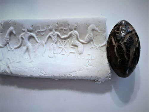 Ancient Garnet Barrel Cylinder Seal Cosmological Deities Pendant Bead RARE