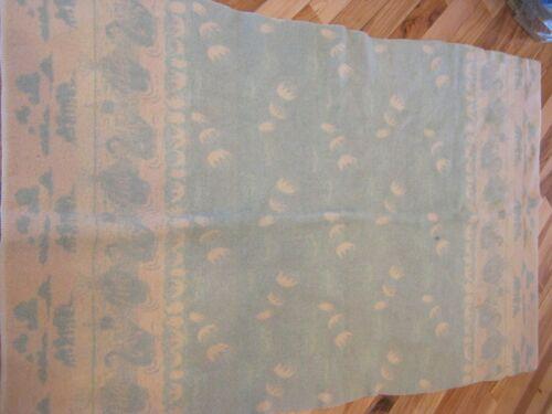 Vintage Twin Wool Blanket Green Cream Swans Elephants