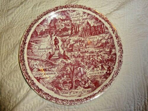 """ATLANTA Georgia Vintage SOUVENIR PLATE 10.4"""" Brown Image on White Vernon Kilns"""