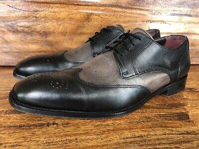 Mens Johnston & Murphy Wingtip Dress Shoes Black Gray Leather Size 9.5 M