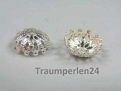 100g = 11,18€ Filigrane Perlkappen 12mm silber Perlenkappen 17g/ca. 50 St.