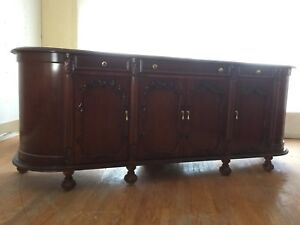Solid Carved Cherry Queen Ann Style Sideboard Buffet