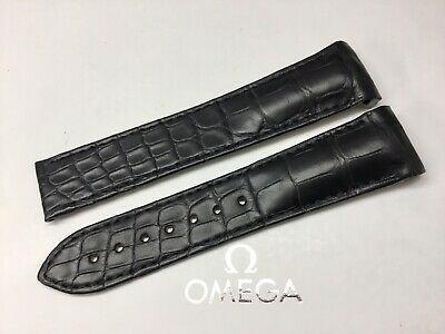 Genuine Omega 21mm Black Alligator Speedmaster Deployment Strap, Brand New.
