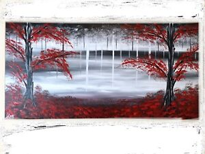 Black white and red painting canvas Acrylic Wall Art Decor