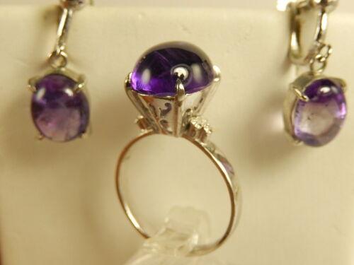 10k WHITE Gold 18k Natural AMETHYST Cabochon RING EARRINGS Set Dangle Sz 7 1/2