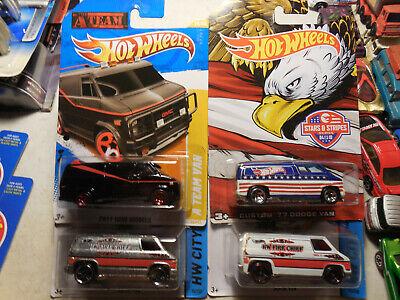 Hot Wheels VAN LOT 4  Stars & Stripes Custom 77 Dodge Van A TEAM SUPER VAN ZAMAC