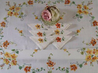 Vintage Linen Napkins 12 Twelve Embroidered Flowers Green Blue Pink Brown Spring Cotton Hand Cross Stitch