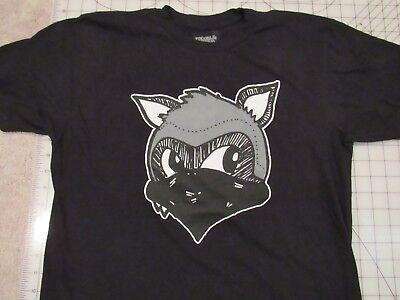 TROUBLE MAKER Fox Wearing Bandana T-SHIRT Men MED Black EUC Bay Area USA Made M (Fox Bandana)