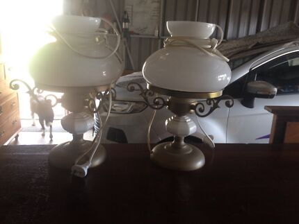 Pair of art deco lamps electric diecast attractive good cond
