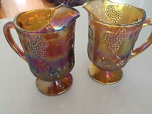 Carnival glass.  Large imperial harvest jugs / pitchers - grape. Indooroopilly Brisbane South West Preview