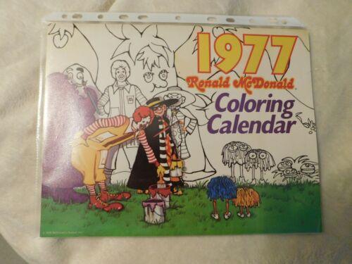 1977 Ronald McDonald Coloring Calendar