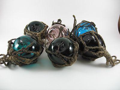 "6 Vintage Japanese Blown Glass Fishing Net Floats  2 1/2"""