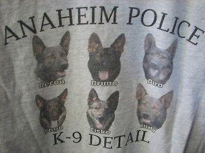 K 9 Detail Anaheim California Police dog t shirt 6 dogs on back California Dog T-shirt