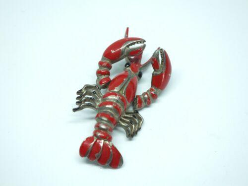 Beautiful Brooch Pin Figural Lobster Silver Tone Red Enamel Articulating Vintage