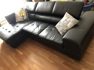 Leather L shaped couch