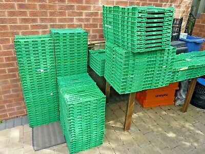 Plastic Storage Crates Folding Stackable Strong & Durable 600 x 400 x 200mm  x5