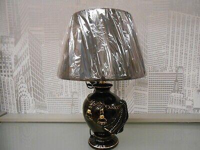 Schwarze Keramik Lampe ( Medusa Keramik Tischlampe Nachttischlampe Schwarz/Gold Barock.)
