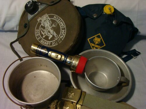 Vintage BSA Boy Scouts of America Canteen TACU Co. Mess Kit, Belts, Flashlight