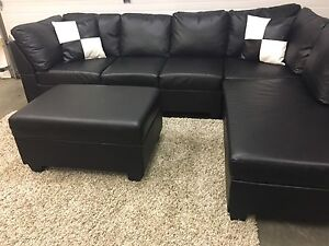 Faux leather sectional and storage ottoman