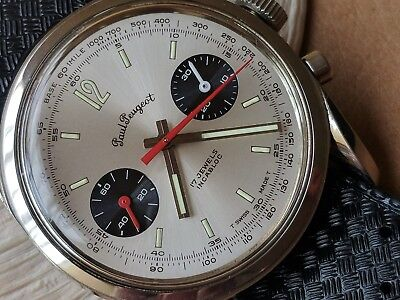 Peugeot Black Wrist Watch (Vintage Paul Peugeot Chronograph w/Silver Dial,Beautifully Cut Diver All SS Case )