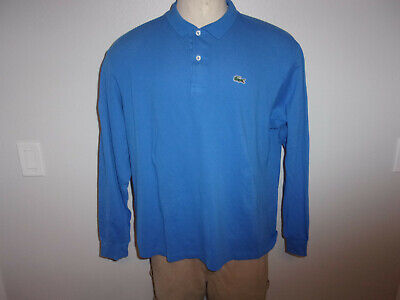 Men's LACOSTE sz. 7 XL Blue LS Polo Shirt EMBROIDERD CROCODILE