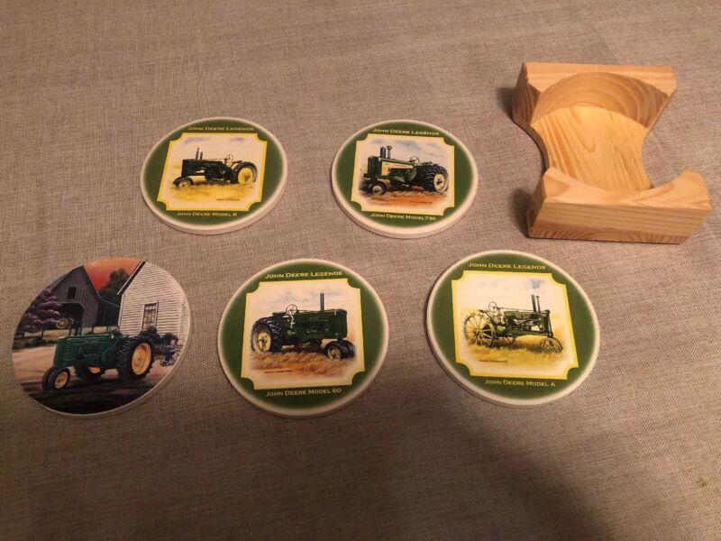 John Deere Stone & Cork Beverage Coasters 5 w/Caddy Art By Edward C. Schaefer