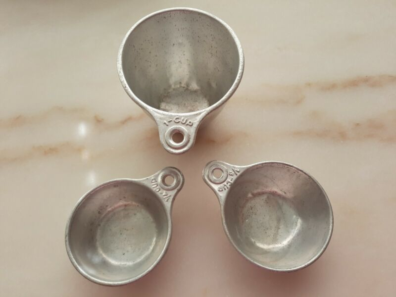 Very Vintage Aluminum Measuring Cups ~ Set Of 3