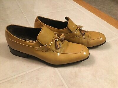 VTG Johnston Murphy Aristocraft Patent Leather Tasseled Mustard Mens Loafer Sz 8