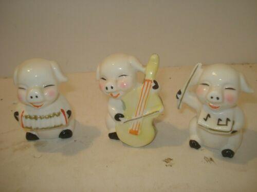 Set of 3 Vintage Bone China Musical Pigs Playing Instruments Taiwan