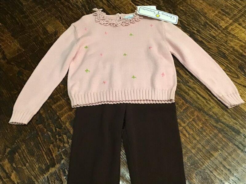 Florence Eiseman Girls Pink Sweater (sz 7/8) & Studio 3-4-2 Brown Pants (sz 8)