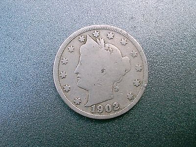 1  1902  V Liberty Barber Head Nickel Old United States Coin Good