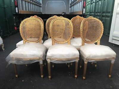 6 French Dining Chairs (6 French Country Gilt Cane Caned Louis XVI Dining)