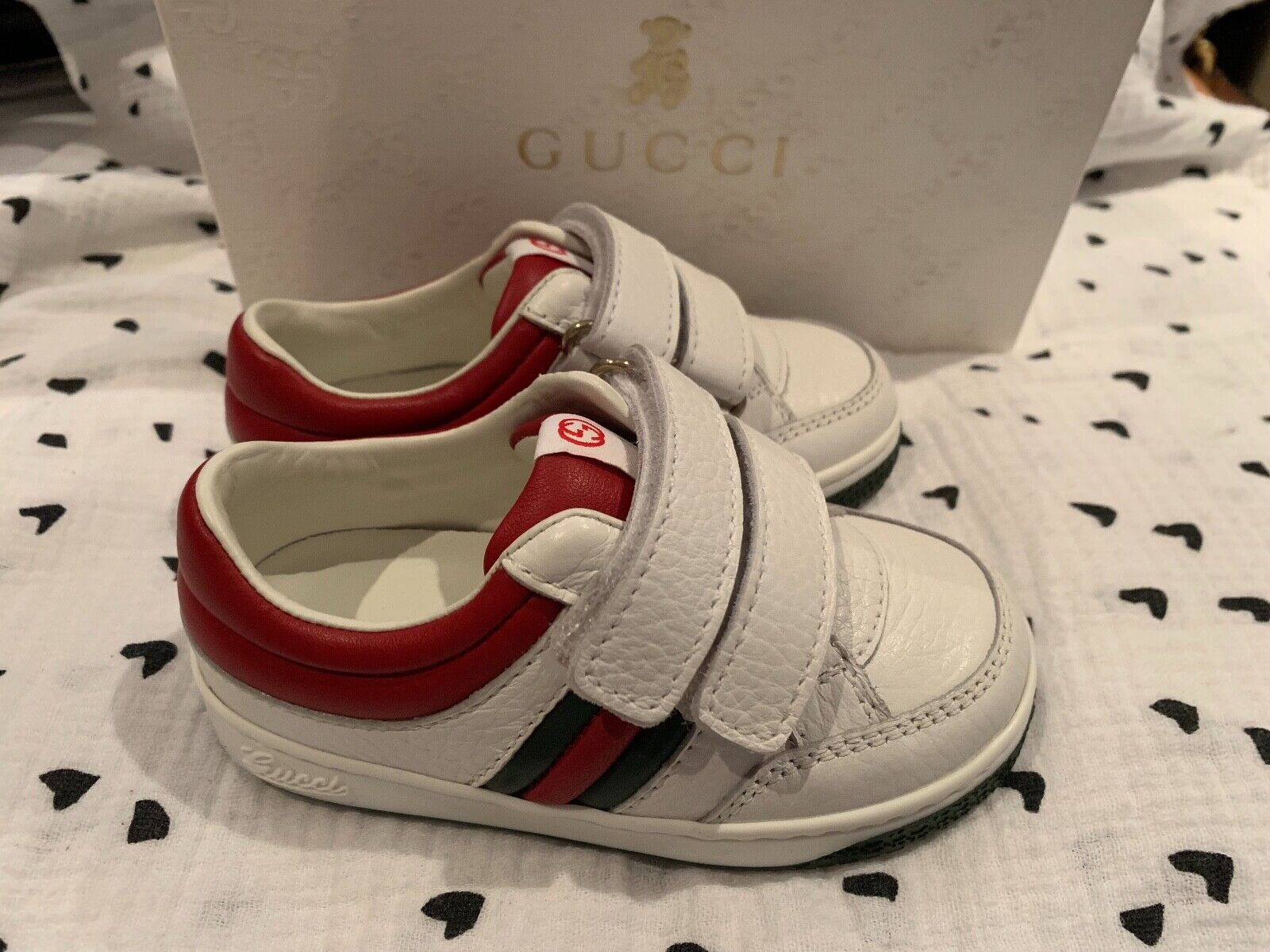 GUCCI Baby Toddler White Ace Sneaker with Web Size 21