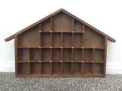 Slotted Display Shelf - Vintage 25-Slot Wood House Miniature Display Case Shelf Shadow Box w/ Gold Nails