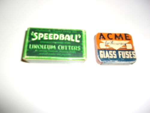 11 Vintage Speedball Linoleum Cutters Attachments & Acme Glass Fuses Tin