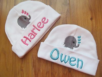 PERSONALIZED MONOGRAM CUSTOM White Infant Baby Beanie Hat Cap Elephant Hearts](Beanie Personalized)